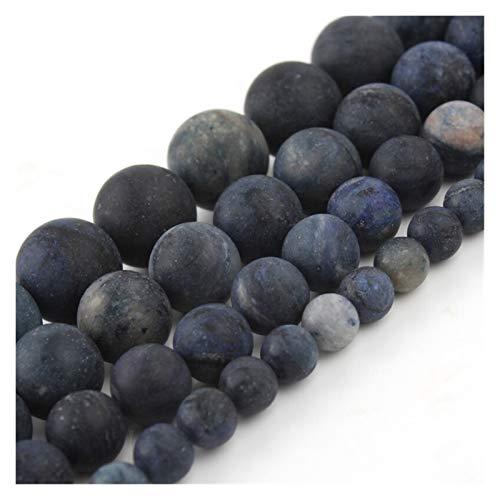 JINGGEGE Matt frostig Natürlicher Stein blau Jasper 4/6/8/10 / 12mm Runde lose Perlen fit for Schmuck Machen DIY Männer Armband Halskette 15 Zoll (Size : 4mm 91pcs Beads)