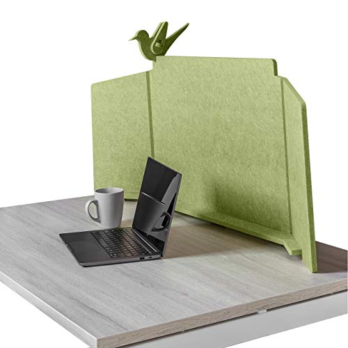 ECObird - Separador de Oficina - Organiza, Personaliza y Protege tu Espacio de Trabajo, Divisor Eco-Friendly para Escritorios, 108 x 49 cm - Verde