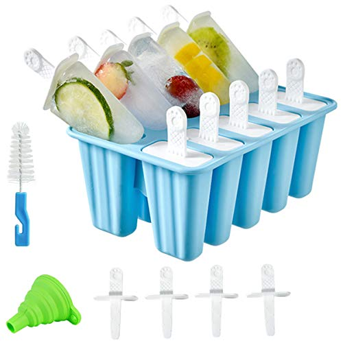 Helistar Popsicle Molds 10 Pieces DIY Reusable Silicone Ice Pop Molds Easy Release Ice Pop Maker with 14 Reusable Popsicle Sticks Silicone Funnel and Cleaning Brush, Blue