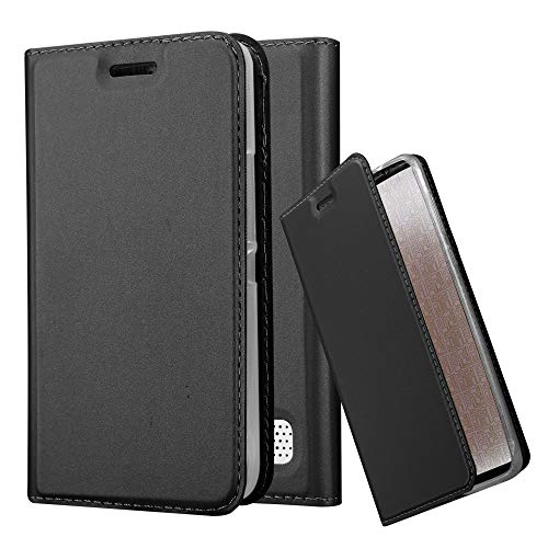 Cadorabo Hülle für Sony Xperia E1 - Hülle in SCHWARZ – Handyhülle mit Standfunktion & Kartenfach im Metallic Erscheinungsbild - Hülle Cover Schutzhülle Etui Tasche Book Klapp Style