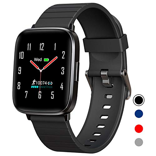 Mgaolo Fitness Tracker,Smart Watch with Blood Pressure Heart Rate Sleep Monitor for Men and Women, Touchscreen Sport Modes Waterproof Activity Tracker with Pedometer for Fitbit Android iPhone (Black)