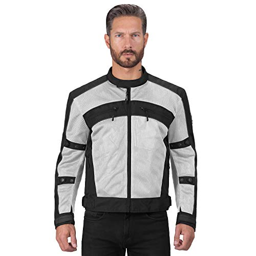 Viking Cycle Ironside Textile Mesh Motorcycle Jacket for Men - Waterproof, CE Approved Breathable Armor for Bikers (XL, Hi-viz)