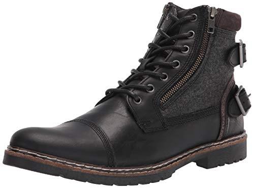 Steve Madden Men's WELKOM Combat Boot, Black Leather, 11