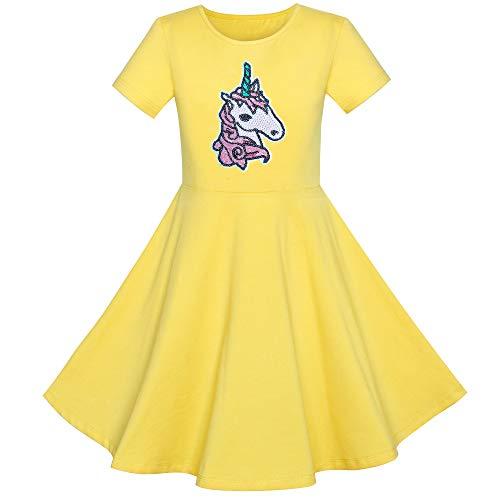 Vestido para niña Algodón Amarillo Unicornio Lentejuela Manga Corta Casual 6 años