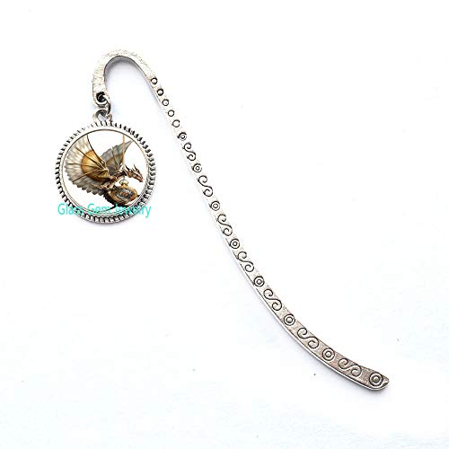 Segnalibro in bronzo con drago steampunk e cabochon in vetro, Q0127