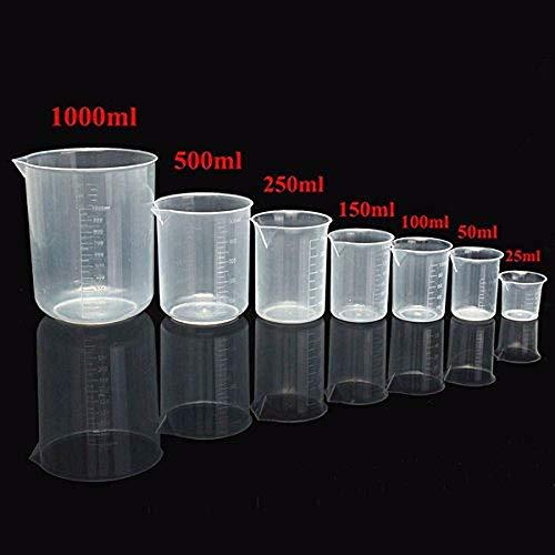25 ml à 1000 ml gradué en plastique transparent Bécher volumétrique à nourriture pour laboratoire – 100 ml 50ml transparent