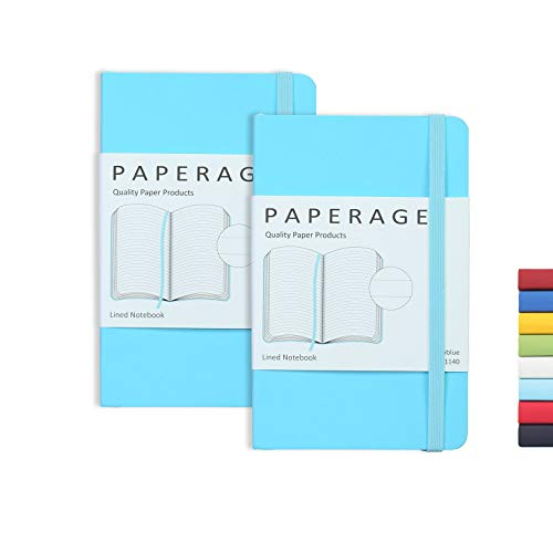 """2-Pack Pocket Notebook Journal Notepad Small, College Ruled, 3.6"""" x 5.5"""", Faux Leather Soft Cover Mini Journal, 100 GSM Thick Paper, Inner Pocket (Skyblue Lined)"""