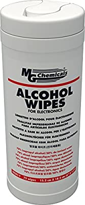"MG Chemicals Alcohol Wipes (70% IPA), 7"" x 6"" (Tub of 75) by MG Chemicals"