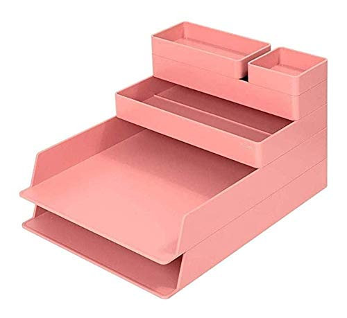 JYV 6-Piece Set Organizador de Escritorio, Resina ABS apilable for el hogar y la Oficina (Color: Rosa) Adecuado for Rack de Almacenamiento de Archivos en el Escritorio de Oficina