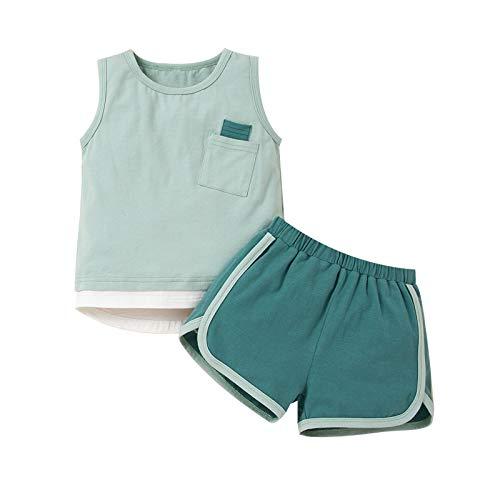 NCONCO Conjunto de ropa de verano sin mangas chaleco camisa+pantalones cortos trajes para 2-7 años