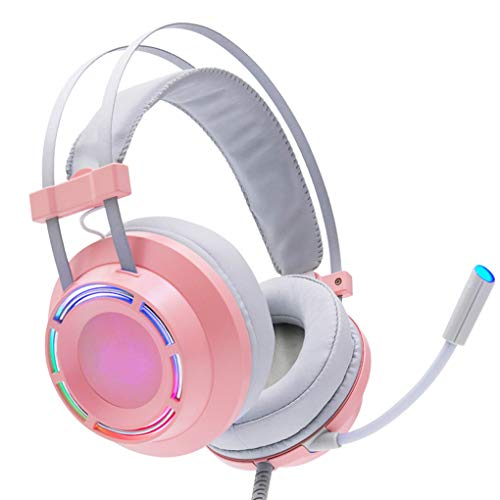 TYYW Gaming Headset, Headphones Gaming Headset Wired with Microphone Professional Gamer 7.1 Surround Sound RGB Light for PC Computer Xbox One,Pink