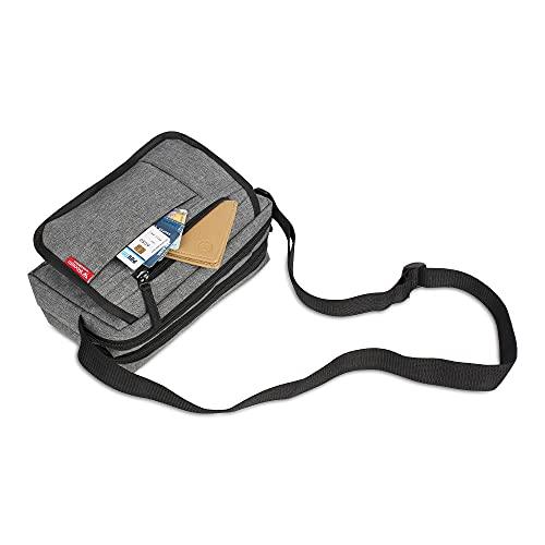 Wooum Small Size Sling Cross Body Travel Office Business Messenger one Side Shoulder Pouch Bag Money Bag for Men and Women (22.86x8.89x15.24cm) (Light-Grey)