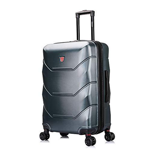 DUKAP Zonix 26 Inch Medium Lightweight Hardside Luggage with Spinner Wheel, Travel Suitcase with Ergonomic GEL Handle, Green