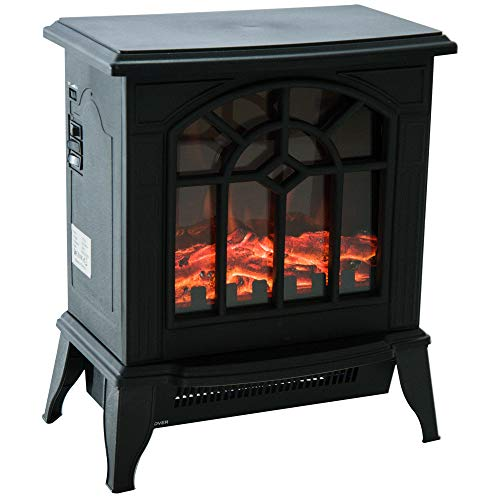 HOMCOM 900W/1800W Freestanding Electrical Fireplace Indoor Heater Stove Log Wood LED Burning Effect Flame with Thermostat Control Black