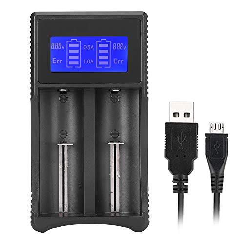 Battery Charger for Li-ion 26650 22650 18650 18490 18350 17670 17500 16340, 14500 Ni-MH/Ni-Cd AA AAA AAAA C Ni-MH/Ni-Cd Battery, LCD Smart Display USB Double Slot Charging Battery Charger