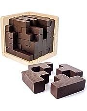Original 3D trähjärna tan teaser pussel. Genius färdighetsbyggare T-formade bitar. 3D-pussel för vuxna och barn. Målad yta pussellåda (original)