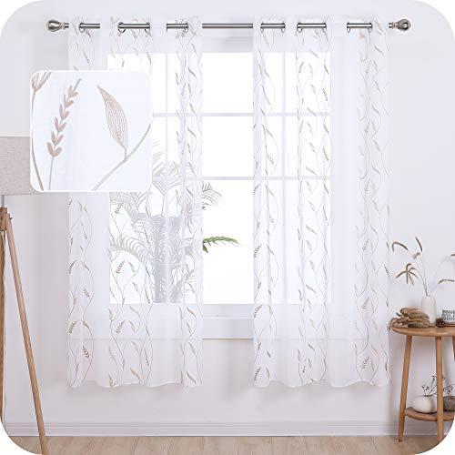 UMI. by Amazon Tende Trasparenti in Voile Spiga Ricamata per Salotto Moderne con Occhielli 140x180cm Lino 2 Pannelli