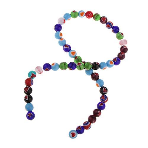 Sharplace Cuentas De Vidrio Coloreado Fabricación De Joyas Encantos Cuentas Redondas Cuentas Sueltas - 48 Piezas
