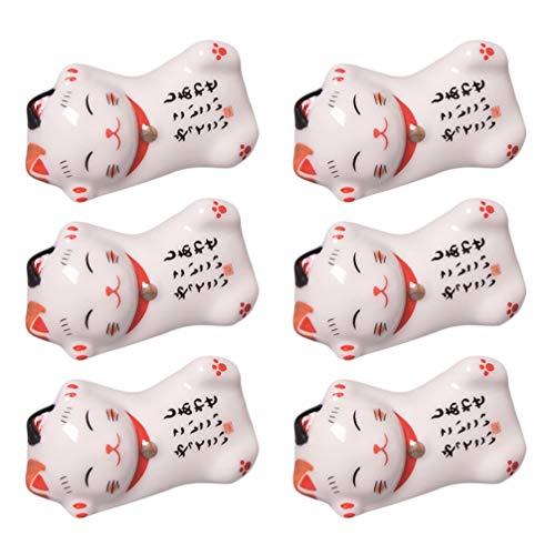 Cabilock 6 Piezas Lindo Gato Palillos de Cerámica Soporte Resto Mini Gato de La Suerte Estatuilla Palillos Decorativos Soporte Estante para Tenedores Cucharas Pinceles