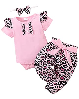 0-12M Newborn Baby Girl Clothes Short Sleeve Romper Bodysuit Pants with Headband Outfits Set Pink/Leopard from