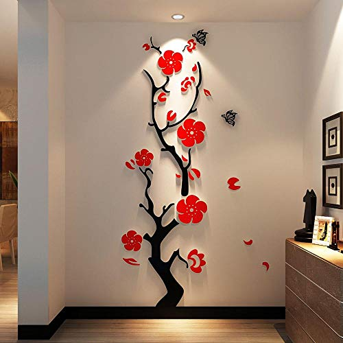 Haus Dekoration Plum Blume 3D Acryl Spiegel Wandaufkleber Raum Schlafzimmer DIY Kunst-Wanddekor lebt Hintergrund Wanddekoration Raum Eingang (Color : Beiger, Size : L 45cm 150cm)