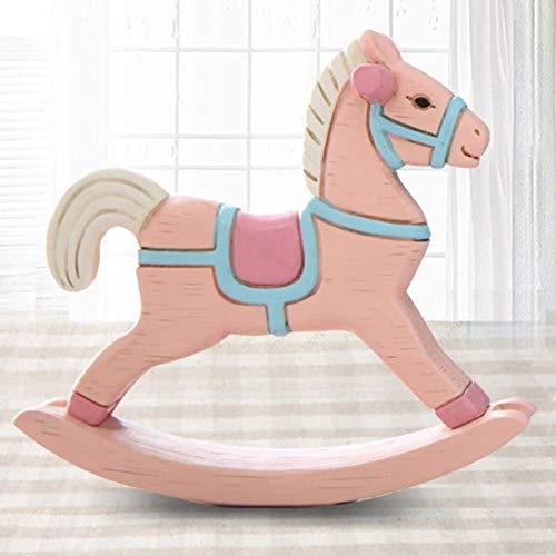 ERFHJ Houten Paard Cartoon Beeldjes Dierlijk Ornament Decoratie Hars Gift