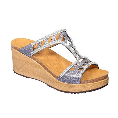 Scholl Damen Sandaletten Elettra, 42 EU,  Silber