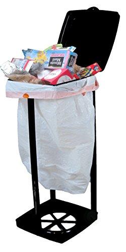 PLAYBERG Portable Garbage Bag Holder with Lid, Black