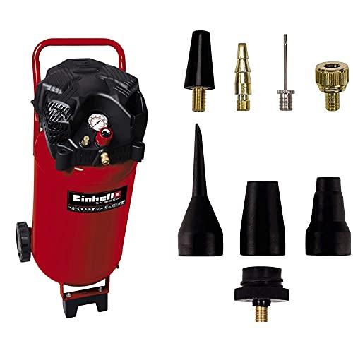 Einhell TH-AC 240/50/10 OF Compresor vertical, 1500 W, 230 V + Pack de 8 accesorios para aire comprimido, color negro