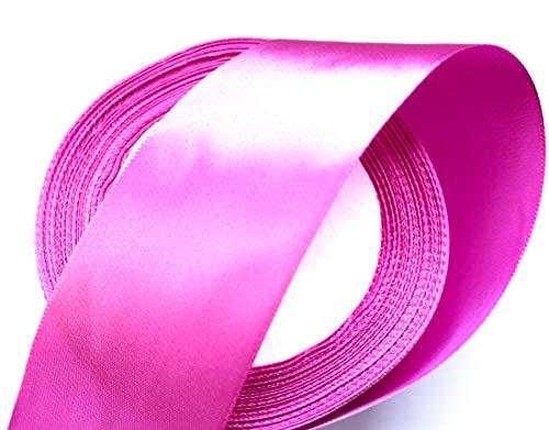 CaPiSo 22m Satinband 40mm Breite Schleifenband Geschenkband Dekoband Weihnachten Hochzeit (Pink, 22m)