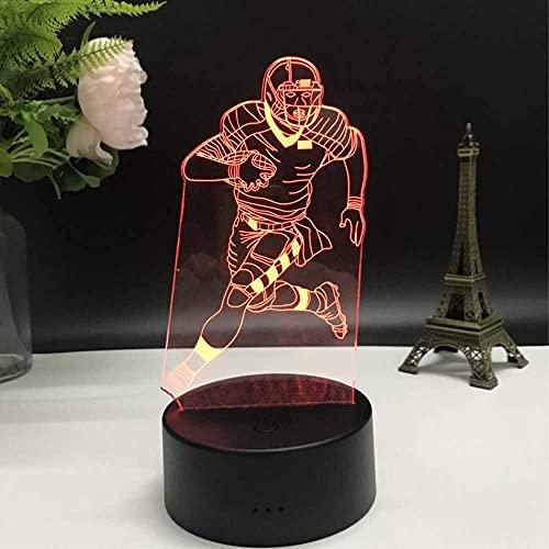 Luz De Noche Led De Ilusión 3D, Lámpara De Mesa Usb Con Interruptor Táctil De Cambio Gradual De 7 Colores Para Regalos Navideños O Decoración Del Hogar (Jugador De Fútbol, Luz De Rugby)