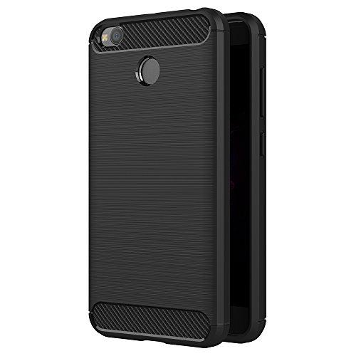 AICEK Xiaomi Redmi 4X Hülle, Schwarz Silikon Handyhülle für Redmi 4X Schutzhülle Karbon Optik Soft Case