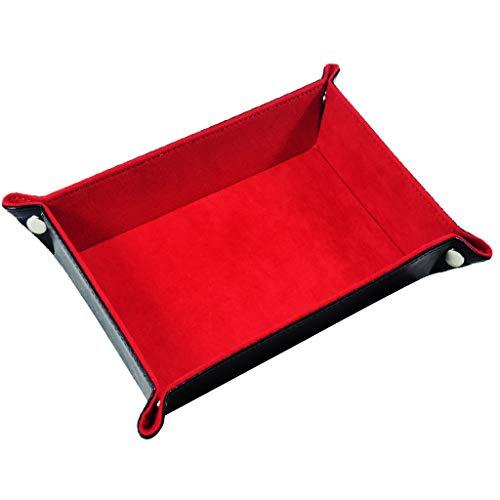 Yourandoll Würfelschale Zusammenklappbar PU-Leder Würfelteller Würfel Tablett Würfel Halter mit samtiger Rollfläche für RPG DND MTG Würfel Spiele und Brettspiel (Rot)