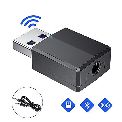 Adaptateur Bluetooth 5.0 Dongle,Dongle USB Bluetooth Hi-FI, émetteur Bluetooth avec câble Audio numérique 3,5mm pour Windows PC/Maison/Casques/Téléviseur/Voiture(USB Juste pour l'alimentation)
