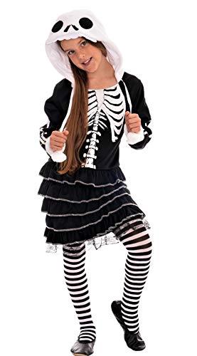 Magicoo schattig skelet kostuum kinderen meisjes zwart wit incl. jurk met capuchon (122/128)