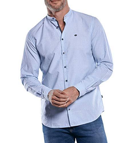 engbers Herren Dezent gestreiftes Hemd mit Stehkragen, 29890, Blau in Größe 3XL