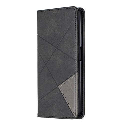VQWQ Funda con Tapa para Huawei Honor 9X - Flip Cover con Soporte y Tarjetero Piel Funda con Magnético Billetera Plegable Carcasa para Huawei Honor 9X [Rombo] -Negro