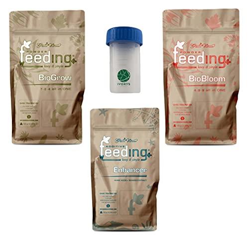 IVORYS-GARDEN Green House Powder Feeding Bio Starter Kit Bloom Grow Enhancer Abono Mineral Fertilizante Humin Fulvin, extracto de algas todo en uno, fósforo, potasio, verde y floración, 125 g