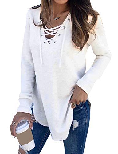 Dresswel Damen Pullover Sexy Oberteile Langarmshirt Schnüren V-Ausschnitt Einfarbig Tunika Tops Lose Bluse Shirts (White, US S)
