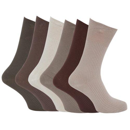 Universaltextilien Herren Socken, gerippt, 6er Pack (45-49 EU) (Sortiert - hell)