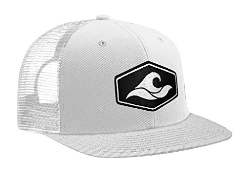 Joe's USA Koloa Surf Hexagon Patch Logo MESH Snapback Hat-WhiteWhite/p
