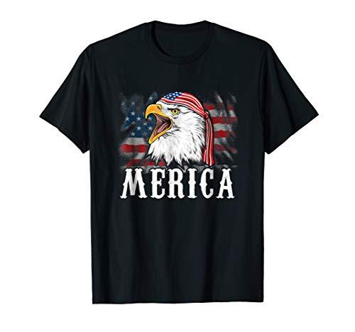 Merica Bald Eagle Screaming American Flag Bandana T Shirt