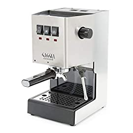 Gaggia RI9380/46 Classic Pro Espresso Machine, Solid, Brushed Stainless Steel 13 Rugged Stainless Steel housing Commercial three-way solenoid valve Commercial-style 58mm chrome-plated brass portability and brew group