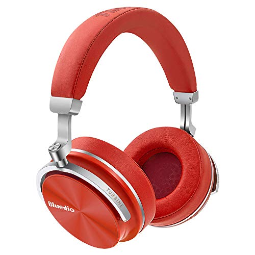 Bluedio T4S Active Noise Cancelling Headphones, Wireless Earphones Portable with Microphone Bluetooth 4.2 Headset Remote Call (Red)