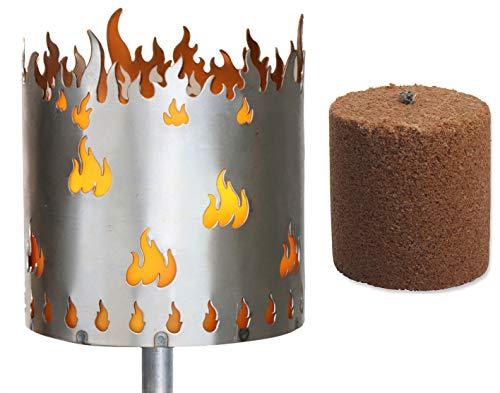 Novaliv Gartenfackel Flamme Feuerschale Metall mit Stiel und Brennmittel