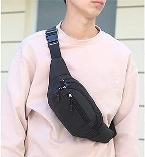 Fashion Single-Shoulder Bags Pure Color Multi-Function Pockets Waterproof Chest Bag Waist Sports Bag (Black) (Color : Black)