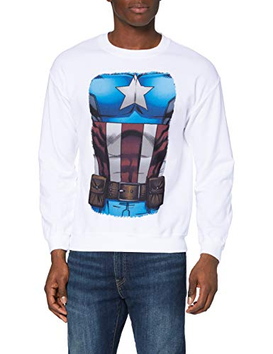 Marvel Avengers Assemble Captain America Chest Burst Sweat-Shirt, Blanc-Blanc, Large Homme