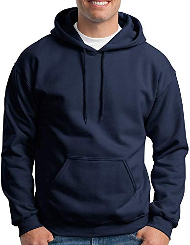 Hooded Pullover Sweat Shirt Heavy Blend 50/50 7.75 oz. by Gildan (Style# 18500) (X-Large, Navy)