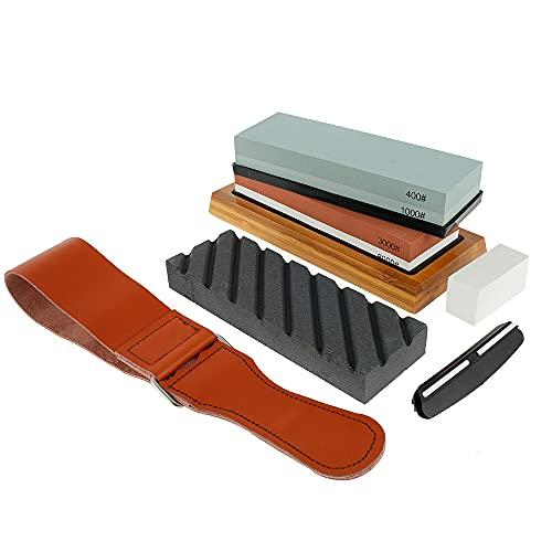 Kyoffiie Knife Sharpening Stone Kit, Dual Sided Whetstone 400/1000 3000/8000 Sharpener Stone Set with Non-slip Bamboo Base, Flatting Stone, Angle Guide and Leather Strop