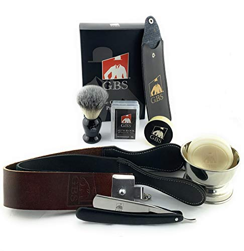GBS Men s Shave Ready Straight Razor 7 Piece Set; Stainless Steel Blade 6 8  Wood Razor Scales, Leather Strop, Stainless Bowl & Shaving Soap Badger Brush, Case & Alum Block
